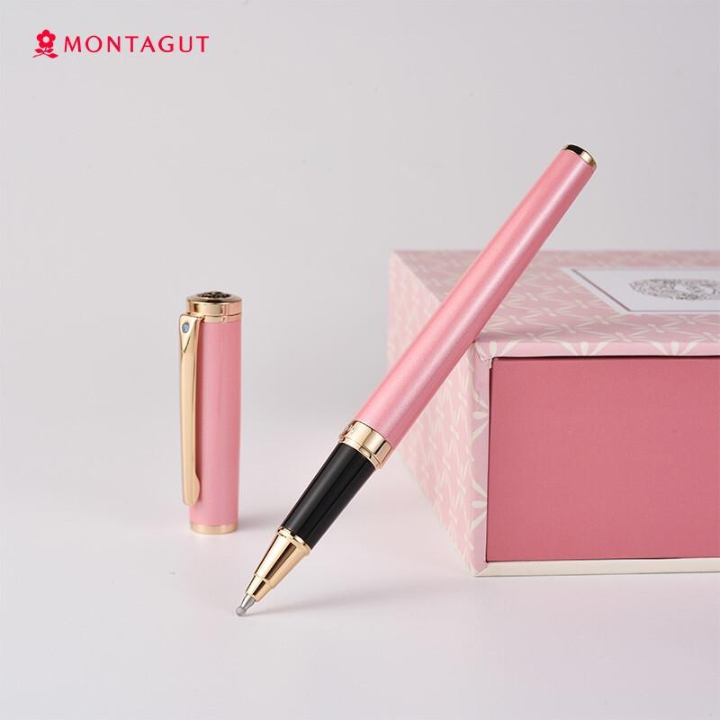 梦特娇(MONTAGUT)签字笔宝珠黑色金属水笔礼盒套装中性笔 潘朵拉 粉色 0.5mm_http://www.chuangxinoa.com/img/images/C202104/1618907733171.jpg