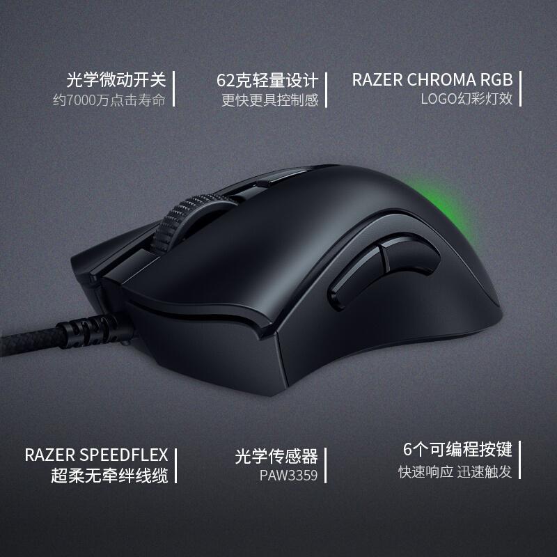 雷蛇 Razer 雷蛇炼狱蝰蛇V2迷你版 鼠标 有线鼠标 游戏鼠标 右手鼠标 RGB 电竞 黑色 8500DPI_http://www.chuangxinoa.com/img/images/C202104/1619146647688.jpg